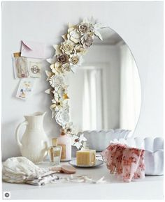 DIY Mirror with Paper Flowers