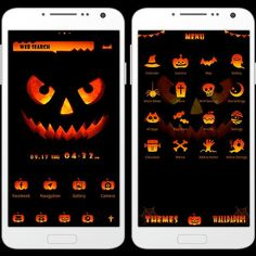 """""""Jack O' Lantern"""" 9/25 What's Halloween without a Jack O' Lantern? Bring the festivities to your smartphone with this seasonal theme! http://app.android.atm-plushome.com/app.php/app/themeDetail?material_id=1340&rf=pinterest #cute #wallpaper #love #kawaii #design #icon #girl #style #beautiful #plushome  #homescreen #widget #deco #helloween"""