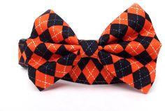 Dog Collar and Bow Tie / Autumn Argyle / plaid by CreatureCollars