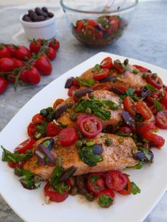 Salmon with Cherry Tomatoes, Olives and Capers