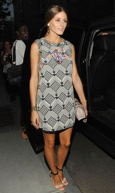 Olivia Palermo in a printed and embroidered shift dress