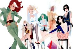 A Little Bit On The X-Women Side: Kevin Wada has some more bonus X-Men redesigns with this recent commission piece of Rogue, Ms. Marvel, Emma Frost, Polaris, Storm, Psylocke, and Sage.