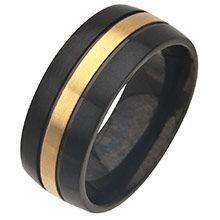 Men's Stainless Steel IP Black Ring with IP Gold Going Round in the Middle. Available Sizes: 9 and 11 - 13