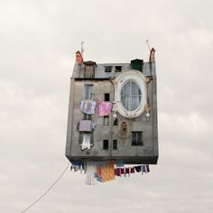 'Annoyed of your neighbor? Get a flying house!' by photographer Laurent Chehere