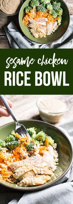 This is a fully balanced meal, all in one bowl. You've got your protein in the chicken, complex fibre-filled carbs in the brown rice, and healthy fats in the sauce. And, of course, you can load this bowl up with veggies!