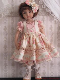Love the open lace over the tiny gingham undergarment American Doll Clothes, Ag Doll Clothes, Doll Clothes Patterns, Pretty Dolls, Cute Dolls, Beautiful Dolls, Child Doll, Girl Dolls, Baby Dolls