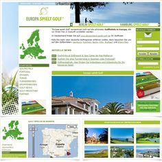 Internetseite Golfportal www.europa-spielt-golf.de / Leistungen: Konzeption, Webdesign, Technische Umsetzung / Techniken: TYPO3, PHP, mootools, XHTML, CSS, Geolocation