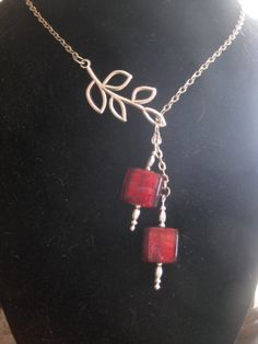 What a sharp use of the leaf finding! MARCH MADNESS SALE Candy Red Lariat by KitsJewleryCreations, $8.00