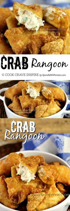 This Crispy Crab Rangoon recipe is easy to make and tastes better than your favorite restaurant! These crispy crab filled wontons can be baked or fried! wonton wrapper recipe on Food - Chinese. Fish Recipes, Seafood Recipes, Appetizer Recipes, Great Recipes, Cooking Recipes, Favorite Recipes, Simple Recipes, Recipies, Easy Chinese Food Recipes