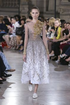 Beautifully Designed White and Gold Dress Adorned with Beading by Georges Hobeika | Haute Couture Fall-Winter 2016-17 | Look 2