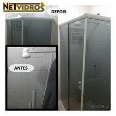 Antes de montar somente peças e depois já montado pronto para uso  #vidrofumê #box #banheiro #semmolhadeira #boxdecanto #NeTVidros (41) 3033-2552
