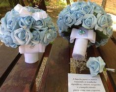 Kit Bouquet Azul & mini porta-alianças