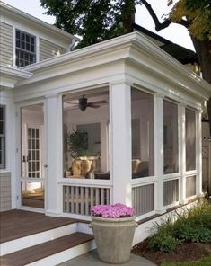 More Ideas Below: Cheap screened in porch and Flooring & Doors & Lighting Farmhouse Bar Exterior Mod Back Porch Designs, Screened Porch Designs, Screened In Patio, Backyard Patio Designs, Back Patio, Porch Addition, Side Porch, Front Porch, Enclosed Patio