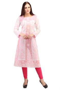 Lovely Pink Kurta which is hand embroidery to match your ethnic style     You can never go wrong with this  chikankari tunic crafted using pure Georgette  fabric especially for those women who love to flaunt their real self. And while the world is going organic and green in every sense, this beautiful chikankari tunic  just lets you be in the flow—is handmade, minimalistic in its design yet high on its appeal and much in lines with today's fashion.     An integral part of Indian culture…