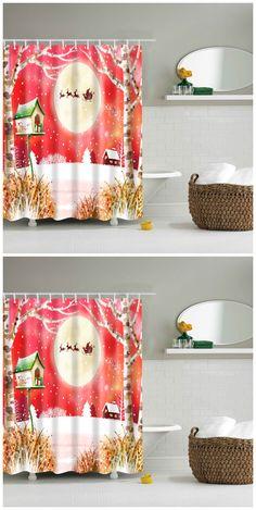 Waterproof Merry Christmas Printed Bathroom Shower Curtain