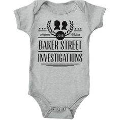 Baker Street Investigation Heather Grey Sherlock Onesie Unisex Baby... ($31) ❤ liked on Polyvore featuring intimates, sleepwear, silver and women's clothing