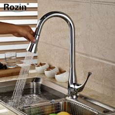 (61.41$)  Know more - http://ai0t2.worlditems.win/all/product.php?id=32445220440 - Chrome Finish Pull Out Kitchen Sink Faucet Deck Mount hot and cold Water Kitchen Mixer Water Taps