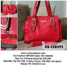 Tas Kerja Wanita Charmix Red Import Murah Website: www.latansastore.com FB Page: La Tansa Store Serius Order: Kode Tas + Nama + Alamat + No.HP :: Website :: Inbox FB :: BBM 76221983 (CS 1) atau 29855A43 (CS 2) :: SMS 08155 012 474 :: WA/LINE 0852 885 886  81 Pembayaran: Mandiri/BCA/BNI/BRI Pengiriman: JNE/Tiki/Pos Indonesia Harga BELUM termasuk ongkir  La Tansa Store - Toko Tas Online: Tas Import Murah  Tas Fashion IMPORT Kode: HB-CXR492 Tipe Tas 3 Ruang Harg Rp 259.000 (Reseller: Rp…