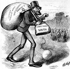 Depiction of a Northern Carpetbagger after the Civil War