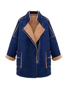 Straight Long Sleeve Wide Lapel Womens Coats