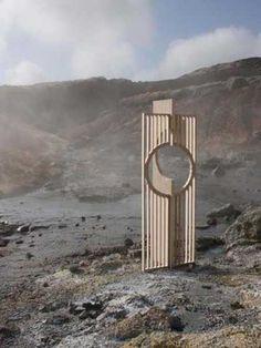 Plywood #sculpture by #sculptor Gu�r�n Nielsen titled: 'Lines (Conceptual Modern abstract Moon Gate garden sculptures)'. #Gu�r�nNielsen