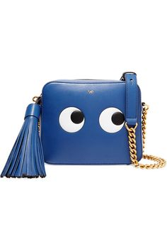 Anya Hindmarch's shoulder bag is updated for Fall '16 in a royal-blue shade, offset by polished gold hardware. Crafted from the finest Italian leather, it's embossed with a pair of sticker-inspired eyes and finished with a swishing tassel. The external zipped back pocket is perfectly sized for your cards and keys.