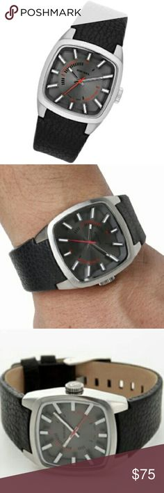 NWT Black Leather Watch Men's genuine leather black Diesel watch with silver hardware and red accents in the face. Simple watch and medium sized face. NWT. Never used and in great condition. Tags still attached! Original Diesel box not included. Authentic. No trades! Diesel Accessories Watches