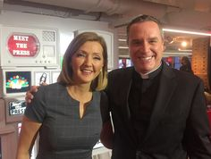 Paulist Fr. Dave Dwyer with MSNBC's Chris Jansing when Fr. Dave was interviewed during a broadcast in last December, 2016.