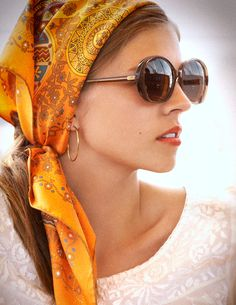 Joie top ($348); Hermès scarf ($410); Bottega Veneta sunglasses ($435); Jennifer Fisher earrings ($400). - TownandCountryMag.com