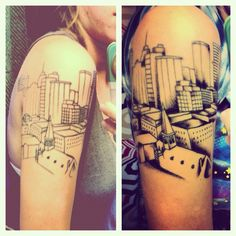 """""""This is my tattoo of the Oklahoma City skyline. It's a photo I took from the 24th story of a high rise apartment building that I used to live in."""" Love it."""