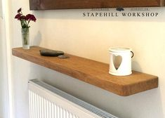 Solid Oak Floating Shelf Radiator Hall Kitchen Alcove Thick Wood, Free Fixings Thick, Natural Oil Finish with Optional Depth) Floating Shelves Bedroom, Reclaimed Wood Floating Shelves, Floating Shelves Kitchen, Kitchen Shelves, Wooden Shelves, Cool Shelves, Hanging Shelves, Shelf Wall, Tv Shelf