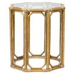 Rema Global Regeant Rattan Octogon End Table - Natural | Kathy Kuo Home