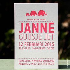 Geboortekaartje Janne - Letterpers.nl
