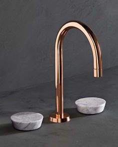 Polished Copper & White Carrara  marble tap. (Zen Deck Mounted 3 Hole Basin Mixer Finish) www.thewatermarkcollection.co.uk