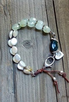 RESERVED FOR CINDY, Boho, leather, double strand, sterling and coin pearl bracelet