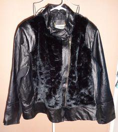 IMAN Black Leather Faux Fur Glam MOTO Zip Lined Jacket Size 3X #Iman #ZipJacket