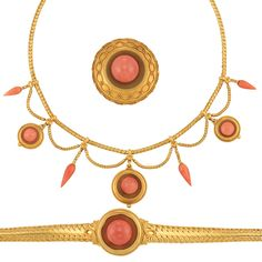 Gold and coral jewelry suite (swag necklace, bracelet, and brooch), c. 1860.