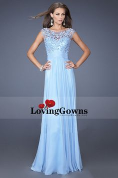 2014 New Arrival Bateau Neckline Embellished Tulle Bodice With Beaded Applique Chiffon