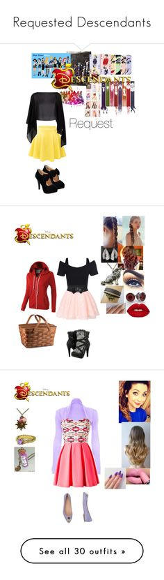 """""""Requested Descendants"""" by maxinehearts ❤ liked on Polyvore featuring Disney, Damsel in a Dress, LE3NO, Wild Rose, Free People, Lime Crime, disney, Requested, OC and Descendants"""