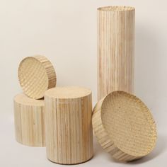 Hackney designer Philippe Malouin worked with traditional craftsmen from Beirut to create a series of bowls and plinths by shaping wooden blocks made of many smaller, tessellating batons.