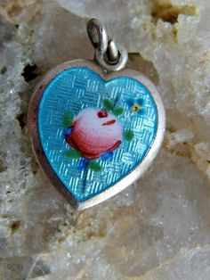 Sterling Silver Guilloche Enamel Heart Charm or Pendant, Robins Egg Blue, Handpainted Pink Rose, Small Pansy, Signed, Sweetheart or Keepsake by postGingerbread on Etsy