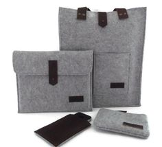 Felt Bag- Felt iPad Sleeve- Felt iPhone Case- Felt Clutch Bag- Felt and Leather- Set of Four
