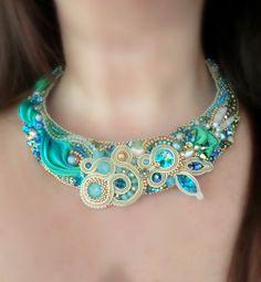 """ARIEL"""" necklace --- shibori silk ribbon - soutache - embroidery ..."""