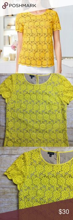 """Talbots Yellow Lined Crochet Lace Top Sz 10 Appears to have never been worn  Yellow with flesh tone lining  Shelli is 80% cotton and 30% Lyocell  Lining is 100% cotton  25"""" L  20"""" side to side at the under arm  Side zip Talbots Tops Blouses"""