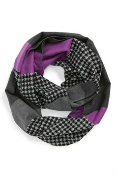Chelsey Houndstooth Colorblock Infinity Scarf