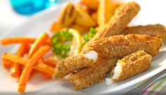 Curried Fish Goujons (A Kids Favourite) - Curried Fish Sticks with Glazed Carrots and Sweet Potato Wedges - a meal on your George Foreman Grill