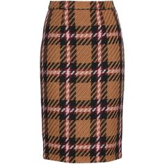 Miu Miu Tartan Pencil Skirt ($860) ❤ liked on Polyvore featuring skirts, beige, pencil skirt, beige skirt, tartan skirt, knee length pencil skirt and plaid pencil skirt