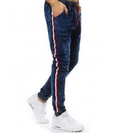 Tmavomodré pánske jogger nohavice s džínsovým vzhľadom Sweatpants, Fashion, Moda, Fashion Styles, Fashion Illustrations