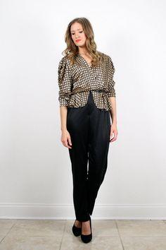 Vintage Black Gold Jumpsuit 1980s 80s Jumper Draped New Wave Gold Bronze Plaid Peplum Skirt Top Pants Romper Playsuit Punk Outfit M Medium by ShopTwitchVintage #1980s #80s #etsy #vintage #jumpsuit