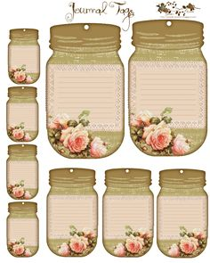 Spring Roses Journal Tags - Free Journal Tags: Would make good name tags, or detail cards at a vintage party - Vintage Tags, Images Vintage, Vintage Diy, Vintage Labels, Vintage Ephemera, Vintage Paper, Printable Labels, Printable Stickers, Printable Paper